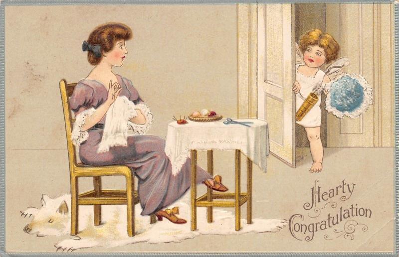 Victorian Lady Sewing~Polar Bear Rug