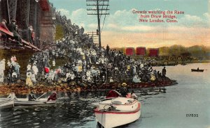 Crowds Watching Race from Draw Bridge, New London, CT., Early Postcard, Unused