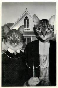 American Gothic with Cat Faces Dressed Cat Farmer Couple Postcard