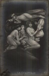 Metamorphic Fantasy - Nude Women LE Chauffeur c1910 RPPC gfz