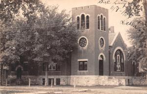 Sac City IA Closeup~Presbyterian Church~Round & Stained Glass Windows RPPC 1905