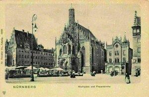 Nurnberg Marktplatz und Frauenkirche Church Market Place Terrace Postcard