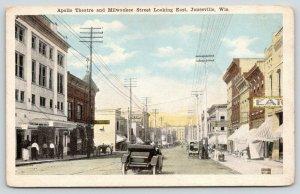 Janesville Wisconsin~Milwaukee Street East~Apollo Theatre~Vintage Car~1920s