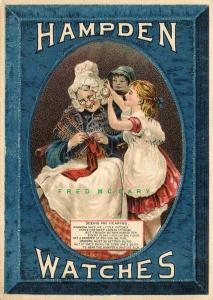 C-1890 Carson City Trade Card for M. V. Moore & Hampden Watches; Granny Knitting