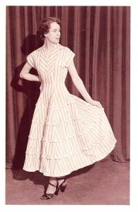 Cotton Dress by Eric Hart, Fashion after end of WWII 1948 Nostalgia Reprint