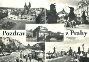 Postcard Czech Republic greetings from Prague various sights and aspects