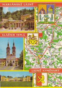 Czechoslovakia Marianske Lazne Multi View With Map