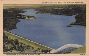 MUSKOGEE OKLAHOMA GREENLEAF LAKE AND DAM POSTCARD 1940s