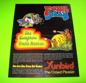 FOWL PLAY By SUNBIRD 1978 ORIGINAL VINTAGE ARCADE WALL GAME SALES FLYER