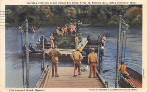 Ferry Truck Pontoon Raft Big Piney River US Military World War II 1943 postcard