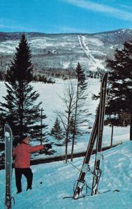 Overlooking Ski-Famous Mont Tremblant, Man Ready to Ski, MONT TREMBLANT, Queb...