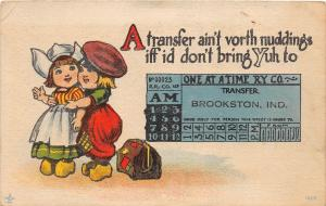 D90/ Brookston Indiana In Greetings from Postcard 1917 Railroad Ticket Dutch
