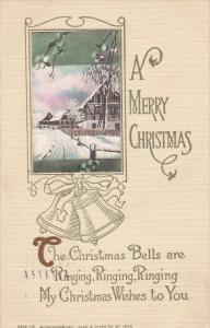 A Merry Christmas, Winter Scene, Ringing Bells, Poem, PU-1912