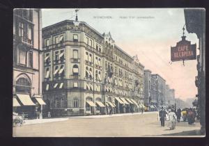 MUNCHEN GERMANY HOTEL VIER JAHRESZEITEN DOWNTOWN VINTAGE OLD POSTCARD