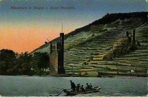 Mauseturm b Bingen u Ruine Ehrenfels Castle Ruins Tower River Boat Postcard