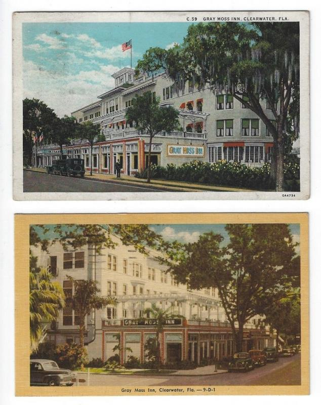 (2) Clearwater, Florida, Views of Gray Moss Inn, 1931 & 1949