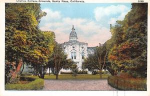 Santa Rosa California~Ursuline College Grounds~1920s Postcard