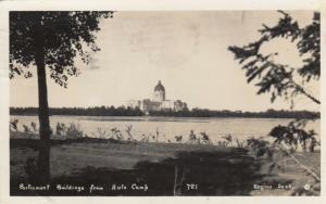 RP: REGINA , Saskatchewan, Canada, PU-1947 ; Parliament Bldgs from Auto Camp