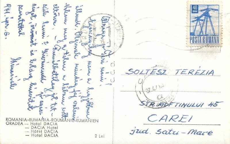 Post card Romania Dacia Hotel Oradea