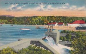 New York Adirondack Mountains View Of Bathing Beach And Dam At Old Forge