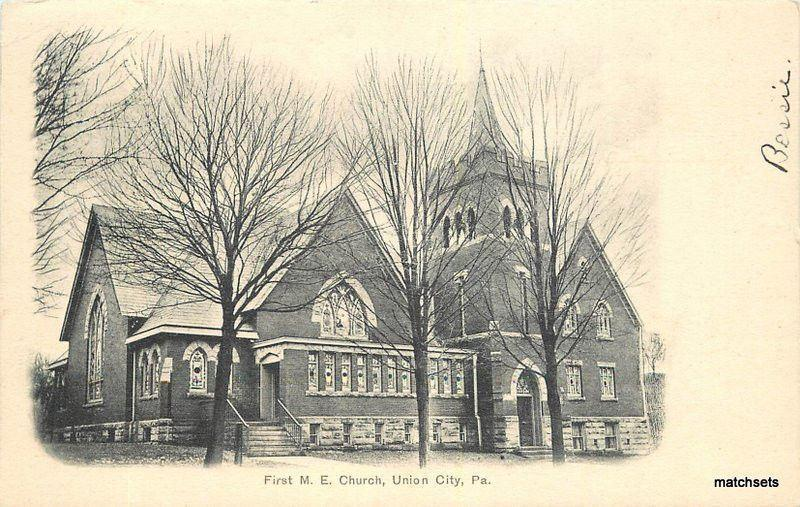 C-1905 UNION CITY PA First ME Church Lean undivided postcard 12262