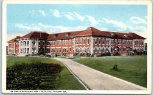 Macon, Georgia Postcard GEORGIA ACADEMY FOR THE BLIND Building View c1930s