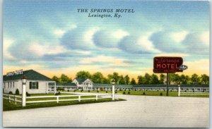 Lexington, Kentucky Postcard THE SPRINGS MOTEL Highway 68 Roadside Linen c1950s
