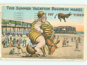 Pre-Linen Comic CHUBBY FAT WOMAN ON TIRED DONKEY AT BEACH AB9020