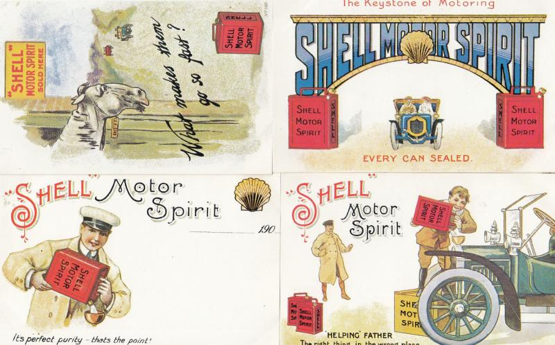 Shell Garage Horse Petrol Can Helping Father 4x Advertising Postcard s