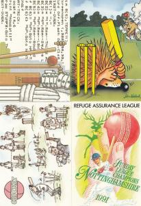 Nottingham Cricket 1991 Season Limited 1000 Howzat 4x Comic Humour Postcard s
