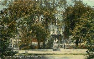 C-1910 Quincy Illinois Fountain Washington Park Knox Postcard 20-277