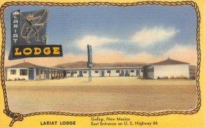 LARIAT LODGE Gallup, New Mexico Route 66 Roadside c1940s Vintage Linen Postcard