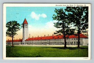 Fort Sheridan IL-Illinois, Western View of The Barracks, Vintage c1940 Postcard