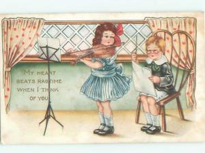 Pre-Linen GIRL PLAYING VIOLIN MUSIC AC1232