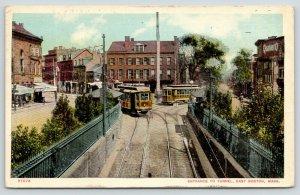 East Boston Massachusetts~Trolleys Approach Entrance to Tunnel~Quaker O~1911