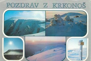 Czech Republic Krknose snowed mountains peaks landscape multiview Postcard
