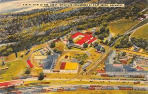 FORT SMITH, AR Arkansas FURNITURE FACTORIES~Railroad Cars~TRAINS c1940s Postcard
