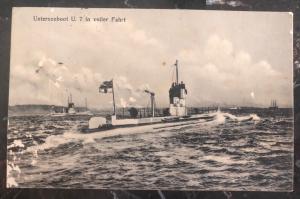 1913 Kiel WW 1 Imperial German Navy U Boat 7 Submarine RPPC Postcard Cover