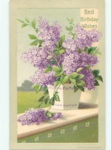 Pre-Linen BEAUTIFUL VIOLET FLOWERS IN FLOWER POT AC4618