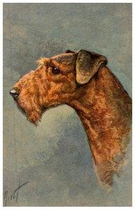 Dog , Airdale  Terrier ,  artist signed