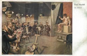 Vintage art postcard PAUL HEYDEL -  In the act room male nude model