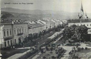 Romania RPR Postcard Sighet aerial photography Piata Libertatii