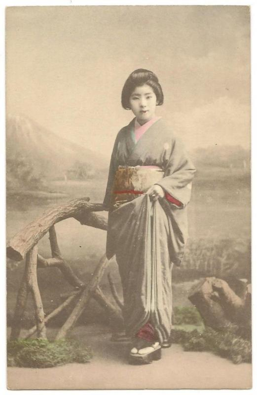 Japan Geisha vintage hand colored UB postcard #2