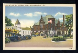 South Weymouth,Massachusetts/ Mass/MA Postcard, Columbian Square, Near Mint!