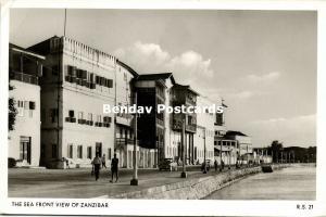 tanzania, ZANZIBAR, The Sea Front View (1961) RPPC Stamp