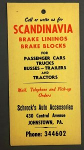 c1950s Schrocks Auto Accessories Johnstown PA Flyer Door Hanger Central Avenue