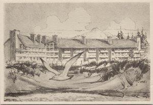 The Grey Gull Ocean Shores WA Washington Drawing Unused Postcard C3
