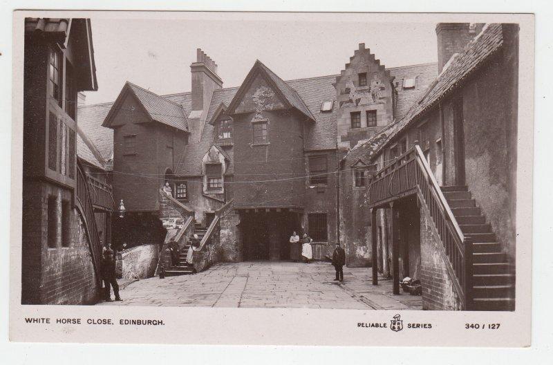 P2137, old RPPC  buildings people white horse close edinburgh scotland