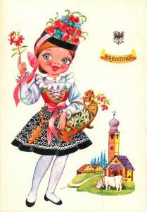 Costumi di Italia Italy folk costumes Trentino girl caricature artist postcard