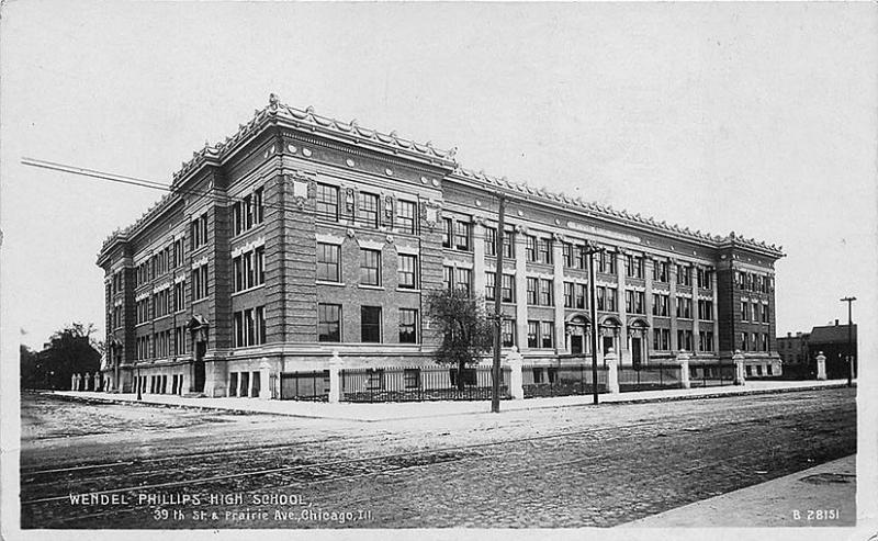 Chicago IL Wendel Phillips High School 39th & Prairie Ave 1909 RPPC Postcard